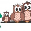 Stock Vector: Owl family