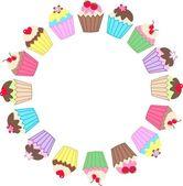 A frame of cupcakes — Stock Vector