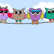 Four funny owls — Stock Vector
