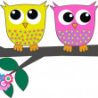 Three cute colorful owls — Stock Vector