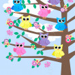 Lot of owls in a tree — Stock Vector #7883785