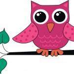 Pink owl branch — Stock Vector
