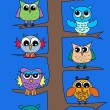 Color owls tree - Stok Vektör