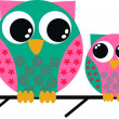 Two cute owls — Stock Vector #7883807