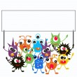 Monsters holding a placard — Stock Vector #7885080