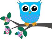 A blue owl sitting on a branch — Stock Vector