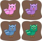 Quatro corujas coloridas — Vetor de Stock