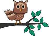 Brown owl branch tree — Stock Vector