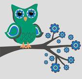 Color green owl flowesr — Stock Vector