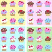 Seamless cupcake pattern — Stock Vector