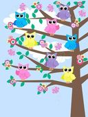 Lot of owls in a tree — Stock Vector