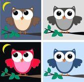 Color owls clip art — Stock Vector