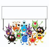 Monsters holding a placard — Stock Vector