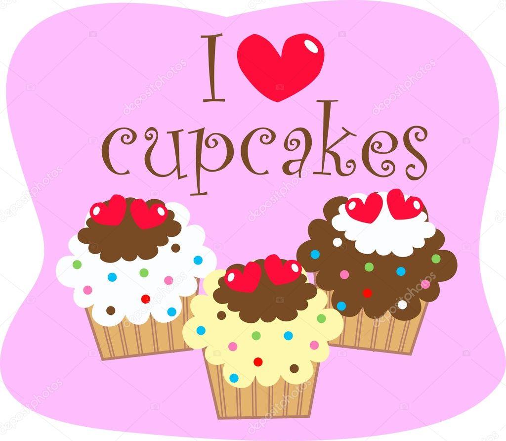 Download I love cupcakes — Stock Vector © popocorn #7883464