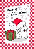 Merry christmas puppy dog animal — Stock Vector