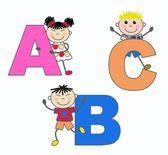 Letters learn ethnic children — Stock Vector