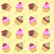 Seamless cupcake pattern — Stock Vector