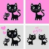 Sweet black cats — Stock Vector