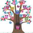 A tree full of owls — Stock Vector #7935473