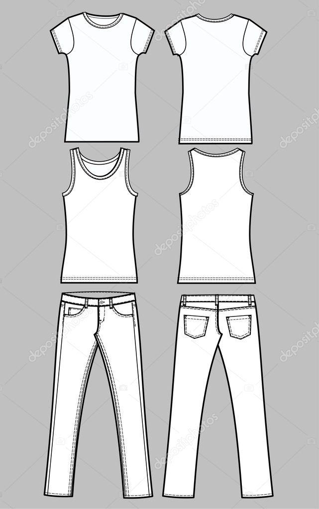 服装素描牛仔裤三通亚麻布