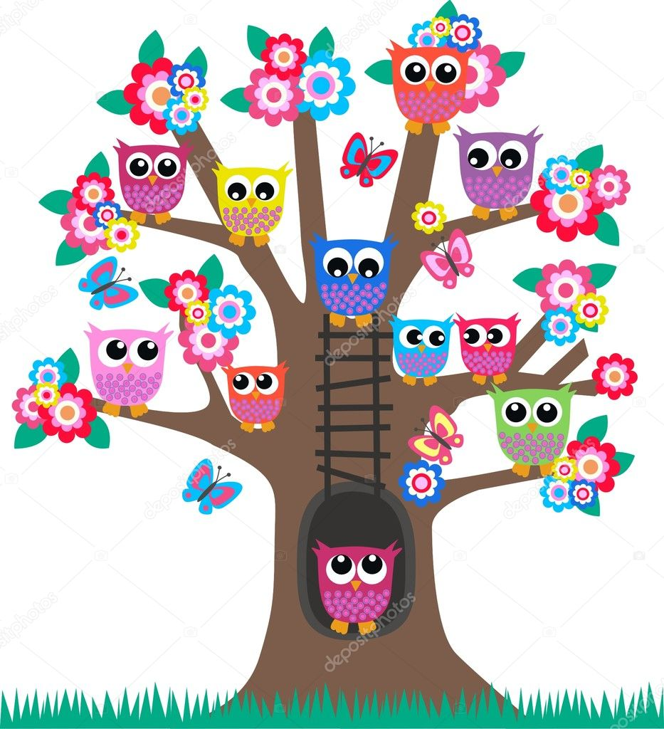 A tree full of colorful owls  Stock Vector #7935473