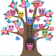 Lot of owls in a tree — Stock Vector #7947222