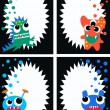 Monster cards tags labels — Stock Vector #7947247