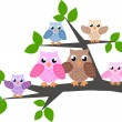 Stock Vector: Colorful owl family