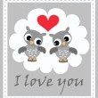 Two cute owls in love — Stock Vector #7947264