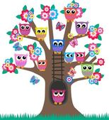Lot of owls in a tree — Vector de stock