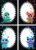 Monster cards tags labels — Stock Vector