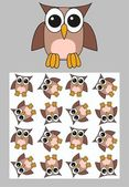Two different owl patterns — Stock Vector