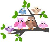 Colorful owl family — Stockvector