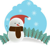 Happy snowman on snowy background — Stock Vector
