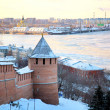 November view of Strelka from Nizhny Novgorod Kremlin Russia - Stock Photo