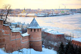 November view of Strelka from Nizhny Novgorod Kremlin Russia — Stock Photo
