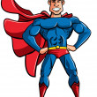 Carton superhero in classic pose - Stock Vector