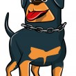 Cartoon Rottweiler with tongue sticking out — Stock Vector