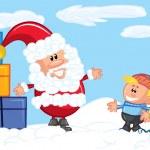 Cartoon Santa with a white beard in the snow — Stock Vector #7769607