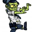 Cartoon zombie policeman — Stock Vector