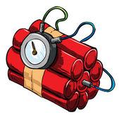 Illustrazione di dinamite con dispositivo di temporizzazione — Vettoriale Stock