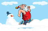 Cartoon Santa running for exercise in the snow — Stock Vector