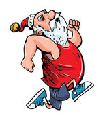 Cartoon Santa running for exercise. — Stock Vector