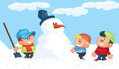 Kids building a snowman in the snow — Stock Vector