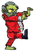 Cartoon zombie Santa with one boot — Stock Vector