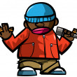 Cartoon hip hop man with microphone. - Vektorgrafik