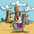 Постер, плакат: Cartoon Mexican wearing a sombrero riding a donkey