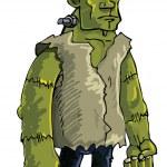 Cartoon green Frankenstein monster — Stock Vector