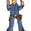 Cartoon of a handy man with all his tools. — Stock Vector