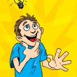 Cartoon man gets a bright idea. A light bulb above his headCartoon man gets — Stock Vector
